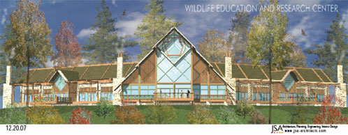 Architectural rendering of the Wildlife Education and Research Center